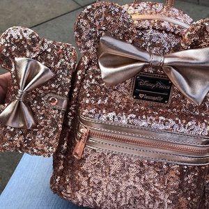 Disney Parks & Loungefly Sequin Rose Gold Backpack